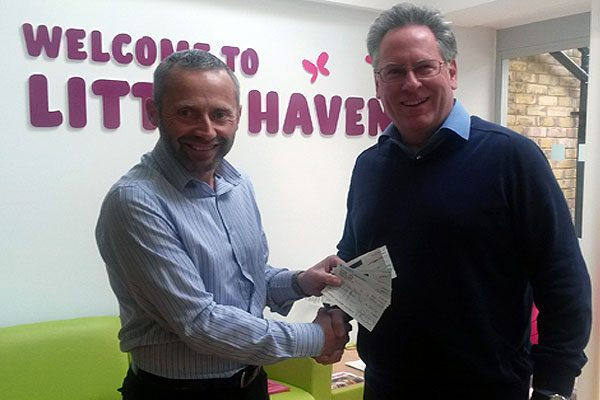 Peter Hall (Little Havens Hospice), Mark Sexton (Lakeside Hammers Community Liaison Manager)