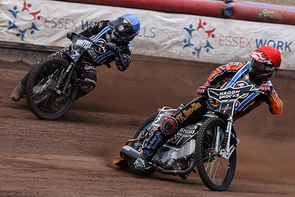 Heat 9: Alfie Bowtell (b) and Paul Hurry (r) Sunday, 25th June 2017 Lakeside Hammers Speedway   National League Arena Essex Raceway, Thurrock